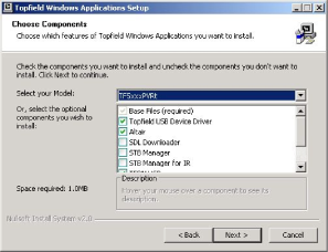 Select install components