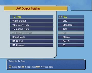 AV settings menu