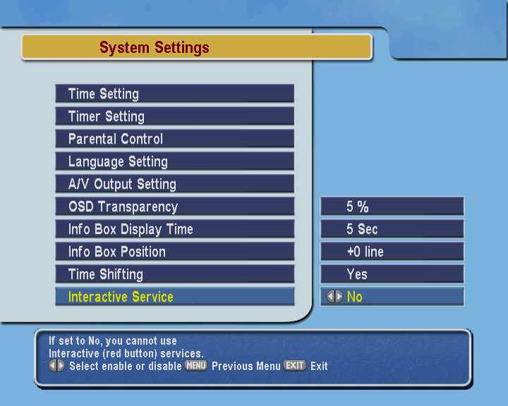 System settings menu